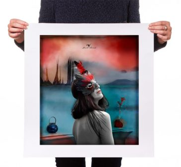 """Retrato digital """"la máscara"""", impreso."""